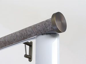 Motorised electric curtain pole in dark brown felt, wireless & battery powered using the Somfy Glydea track | Walcot House UK curtain pole specialists