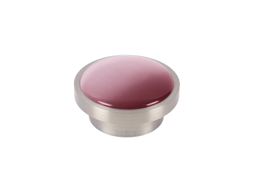 Pink glass moonstone disc curtain pole finial in Dusky Pink
