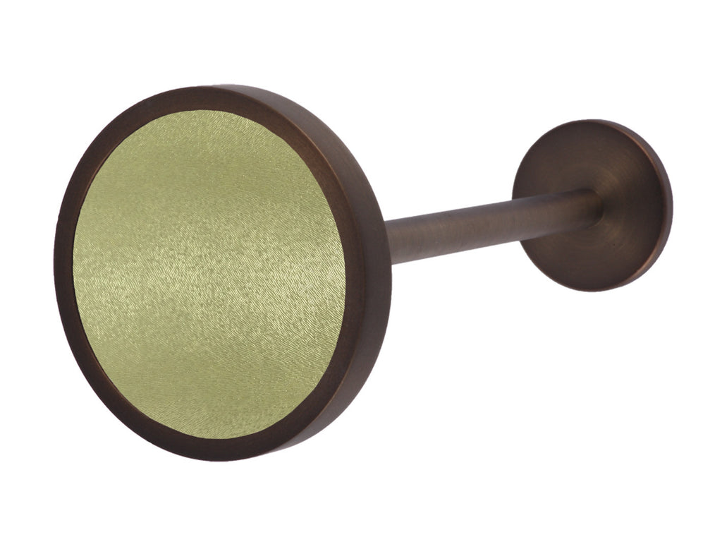 Bronze curtain tie back in grass dew green