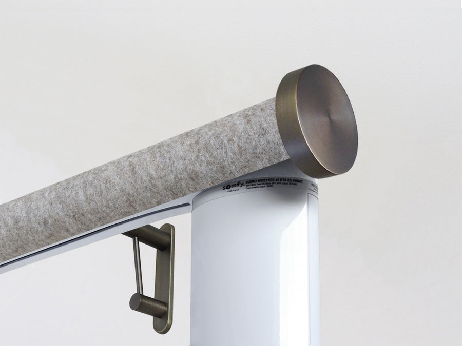 Motorised electric curtain pole in light felt, wireless & battery powered using the Somfy Glydea track | Walcot House UK curtain pole specialists