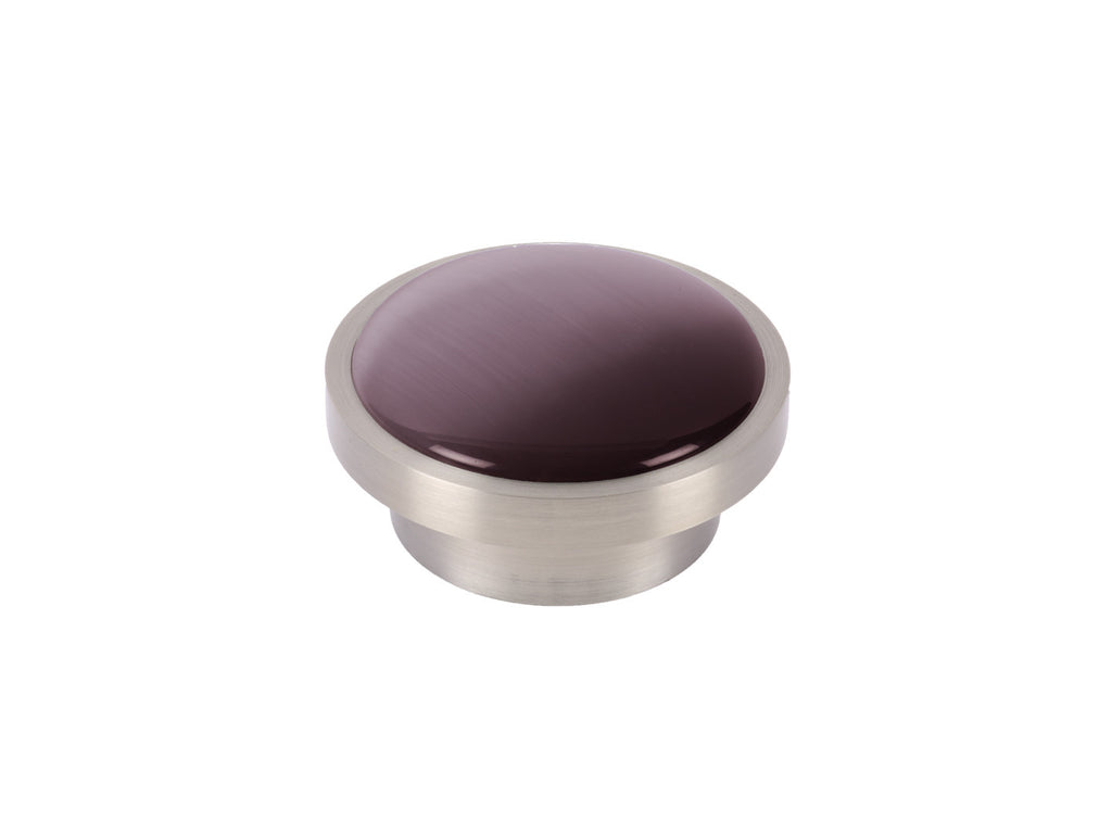 Purple glass moonstone disc curtain pole finial in mulberry