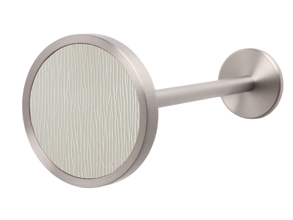 Stainless Steel curtain holdback in white opalite