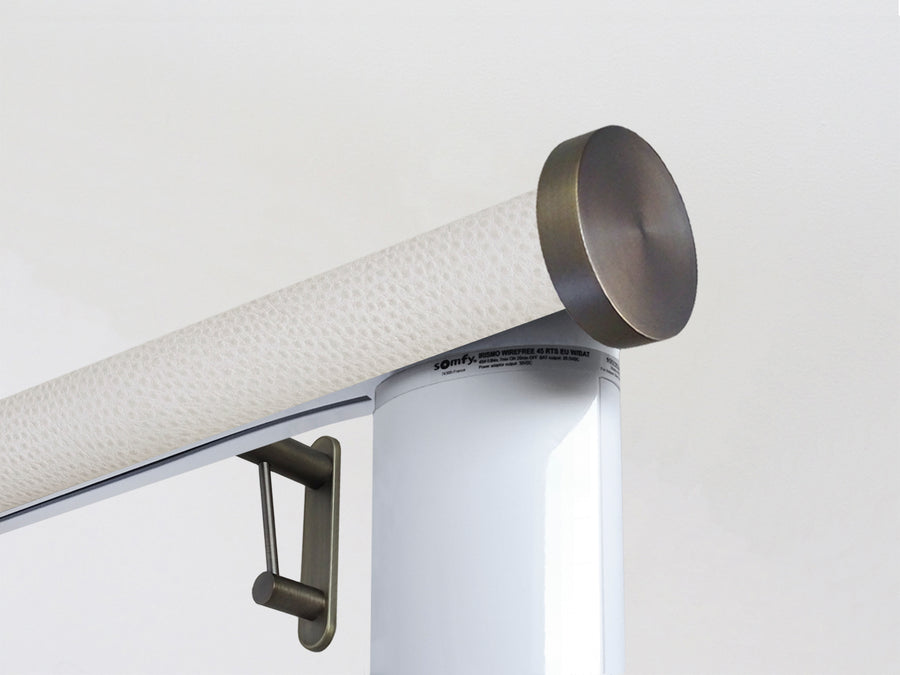 Motorised electric curtain pole in white ostrich, wireless & battery powered using the Somfy Glydea track | Walcot House UK curtain pole specialists