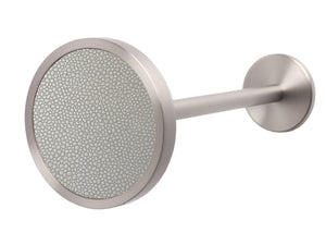 Stainless steel metal curtain tie back in pebble grey