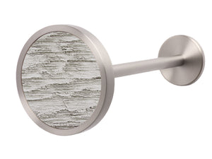 Stainless steel metal curtain tie back in pumice grey