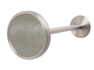 Silver curtain hold back in shadow