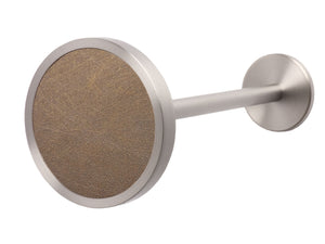 Stainless steel metal curtain tie back in spun bronze