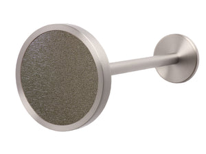 Silver curtain hold back in warm gunmetal