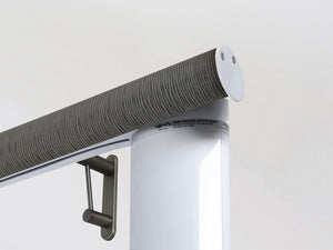 Motorised electric curtain pole in agate dark green, wireless & battery powered using the Somfy Glydea track | Walcot House UK curtain pole specialists
