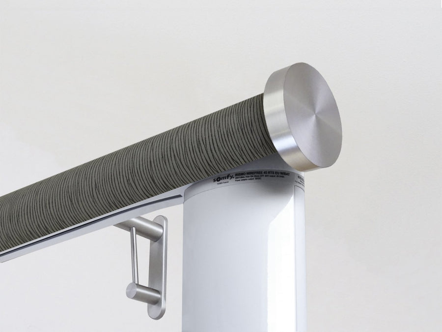 Motorised electric curtain pole in dark green agate, wireless & battery powered using the Somfy Glydea track | Walcot House UK curtain pole specialists