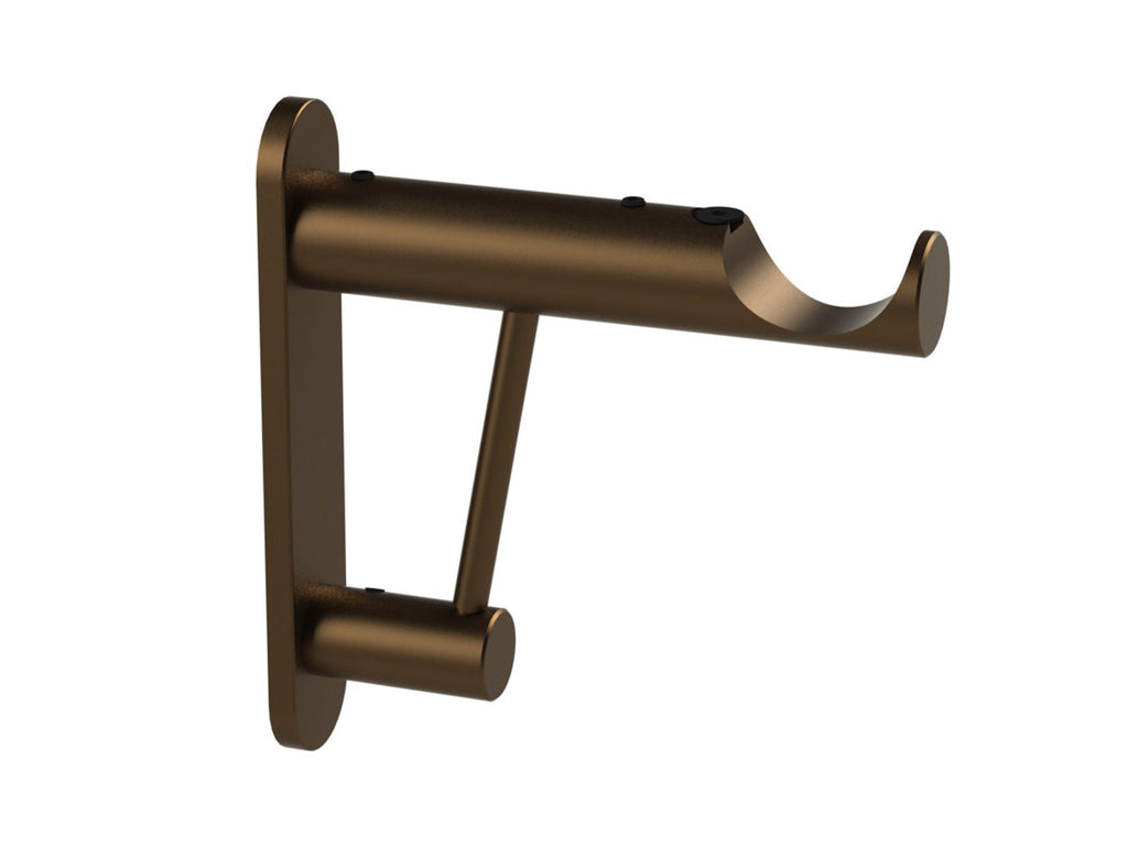 Architrave bracket for 30mm diameter curtain poles in brushed bronze