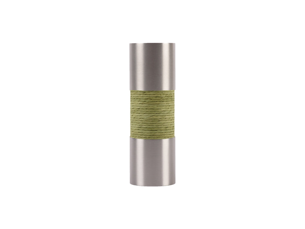 Avocado green curtain pole finial, stainless steel barrel, for 19mm diameter pole