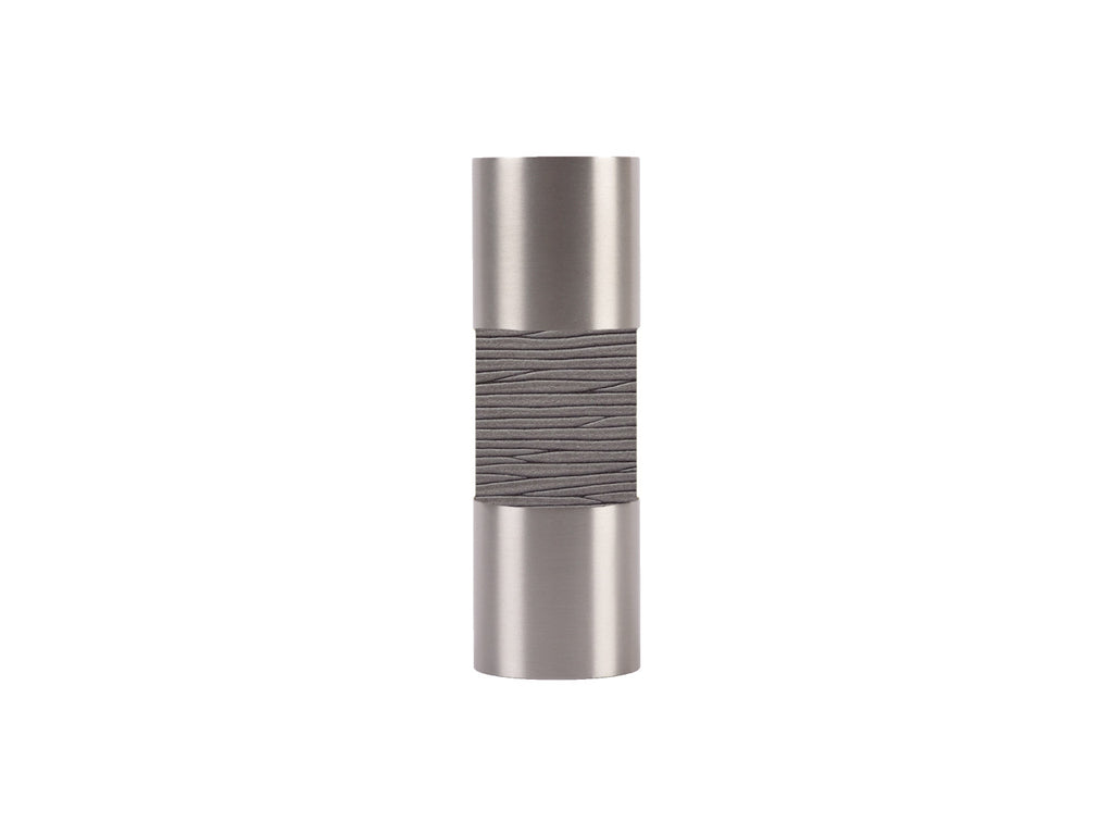 Wrapped barrel finial for 19mm dia. curtain pole in stainless steel