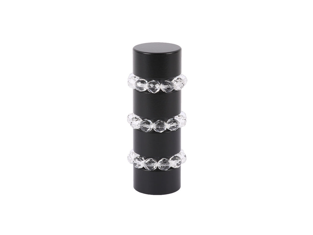 Beaded black curtain pole finial in clear glass | Walcot House 19mm collection
