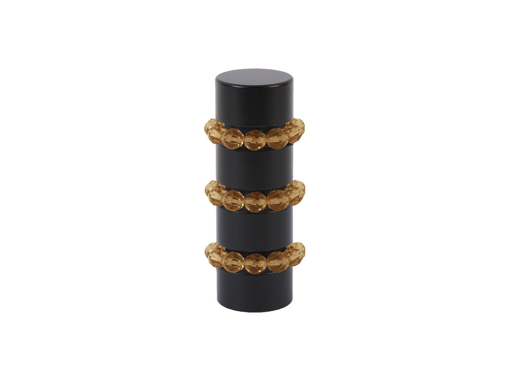 Beaded black curtain pole finial in honey gold glass | Walcot House 19mm collectionads