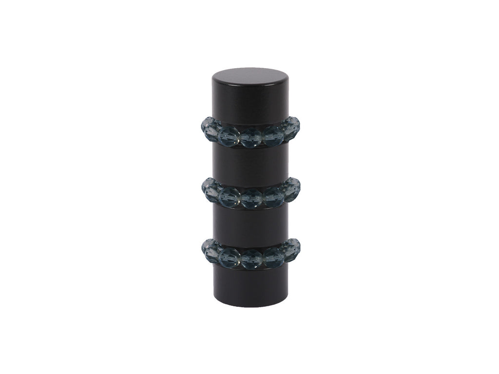 Beaded black curtain pole finial in ink wash dark blue glass | Walcot House 19mm collectionads