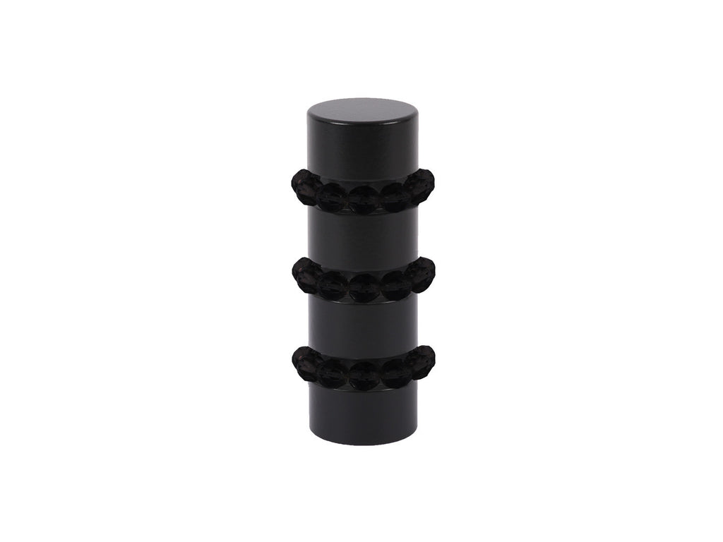 Beaded black curtain pole finial in jet black glass | Walcot House 19mm collectionads