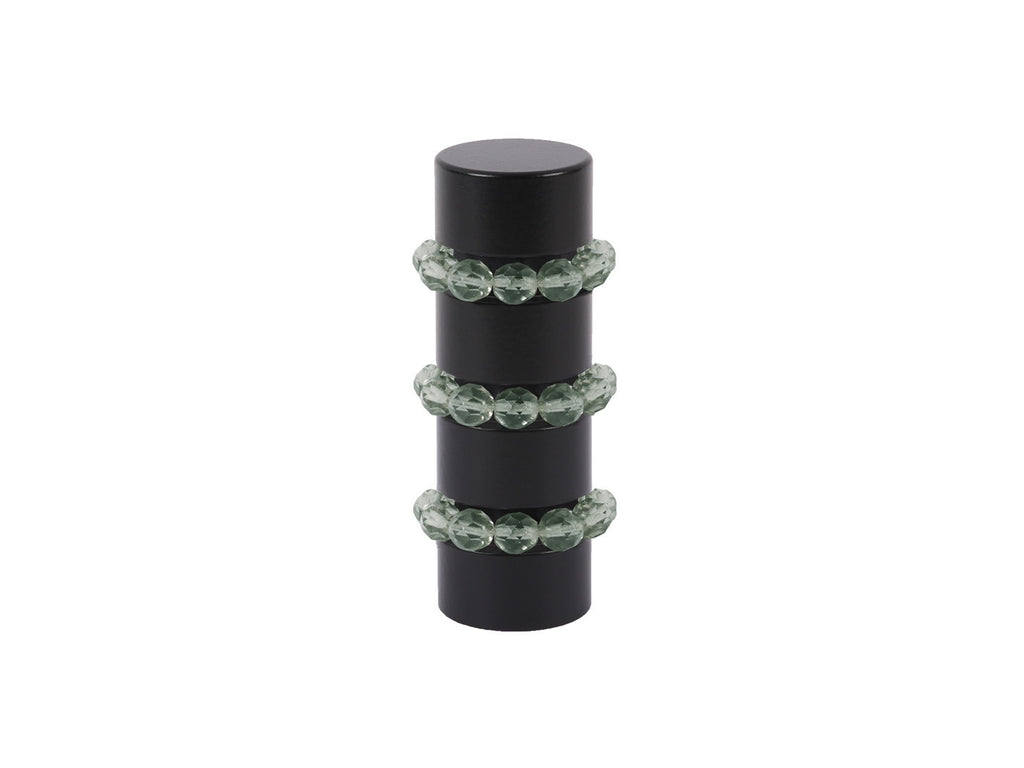 Beaded black curtain pole finial in tourmaline green glass | Walcot House 19mm collectionads