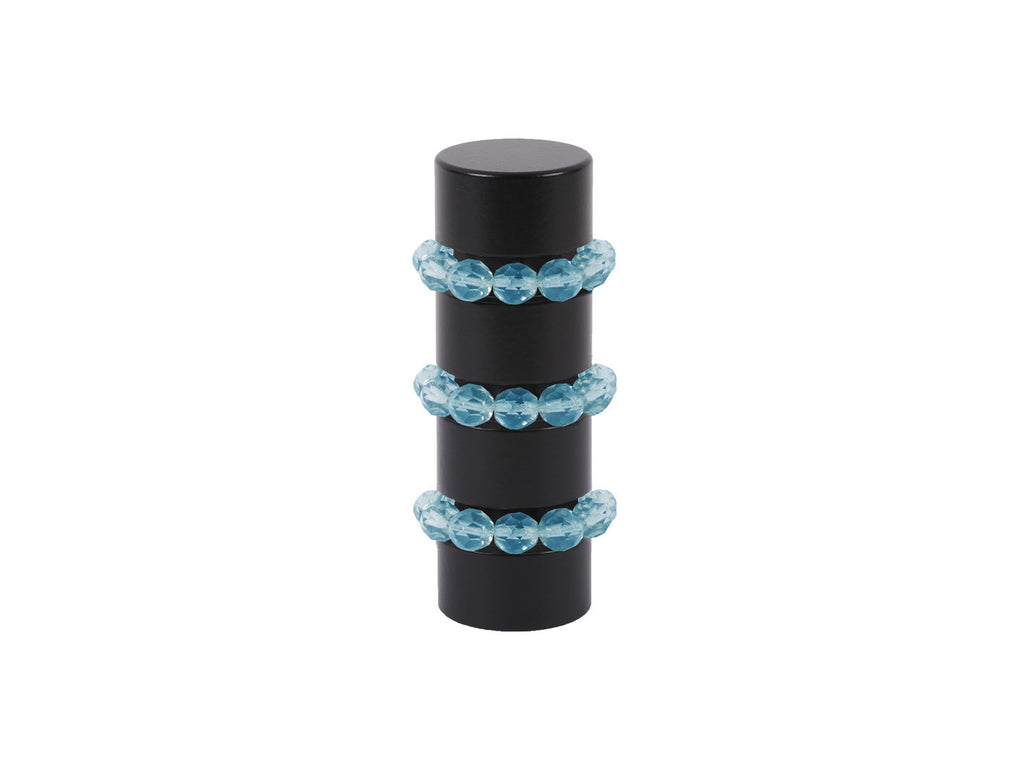 Beaded black curtain pole finial in turquoise blue glass | Walcot House 19mm collectionads