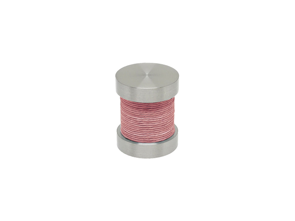 Blossom pink coloured twine groove finial | Walcot House 30mm stainless steel collection