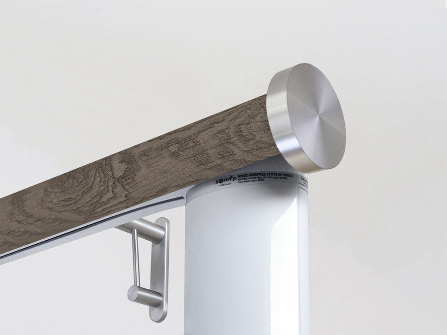 Motorised electric curtain pole in brazil nut driftwood, wireless & battery powered using the Somfy Glydea track | Walcot House UK curtain pole specialists