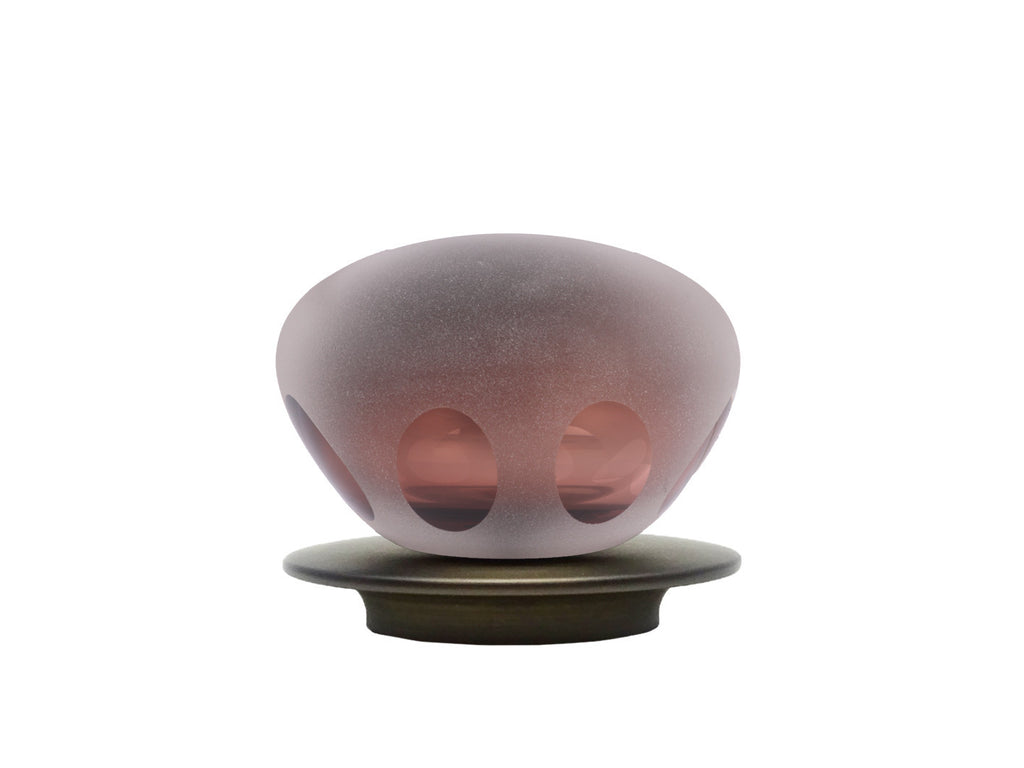 hand blown glass bronze lunar finial for 50mm curtain pole