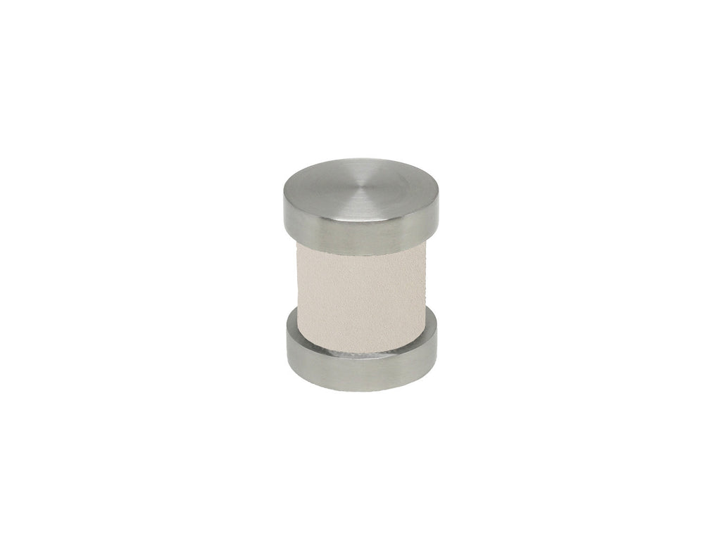 Suede chalk white groove finial | Walcot House 30mm stainless steel collection
