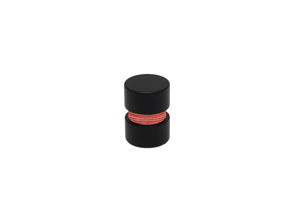 Coral orange curtain pole finial, black groove, for 19mm diameter curtain pole