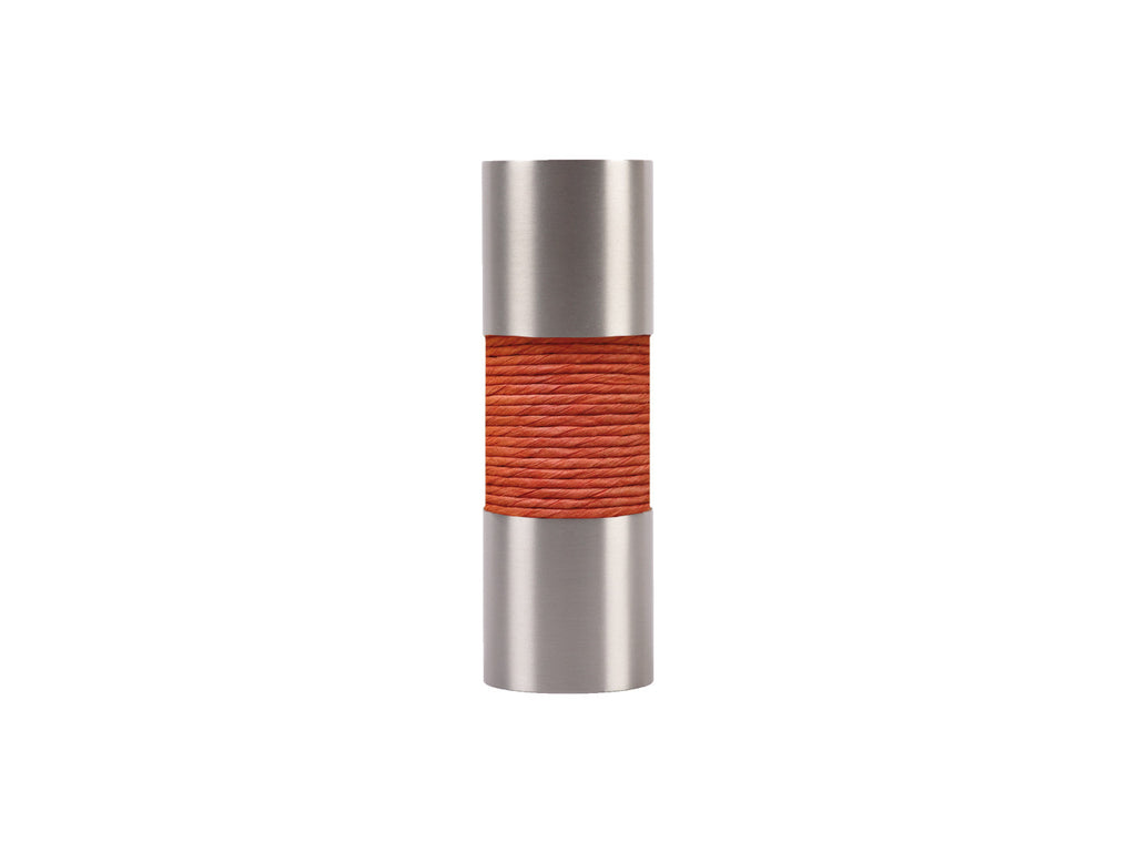 Coral orange curtain pole finial, stainless steel barrel, for 19mm diameter pole