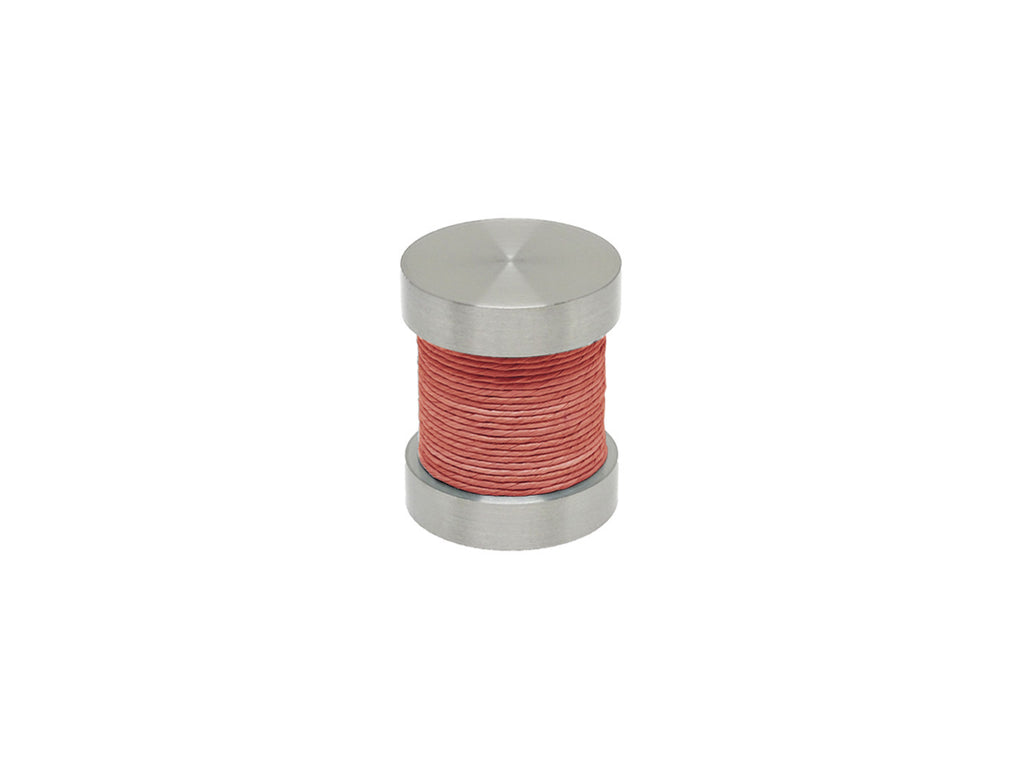 Coral pink coloured twine groove finial | Walcot House 30mm stainless steel collection