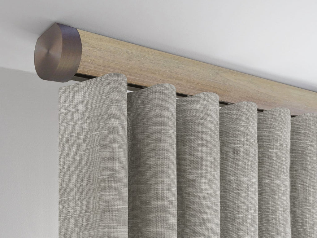 Walcot House | Ceiling fixed curtain pole in cotswold oak with bronze finials - 50mm