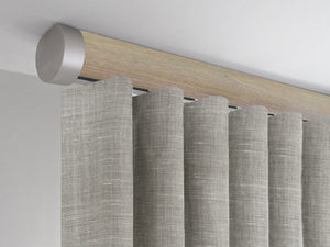 Flush ceiling fix curtain pole in Cotswold Oak stained wood by Walcot House