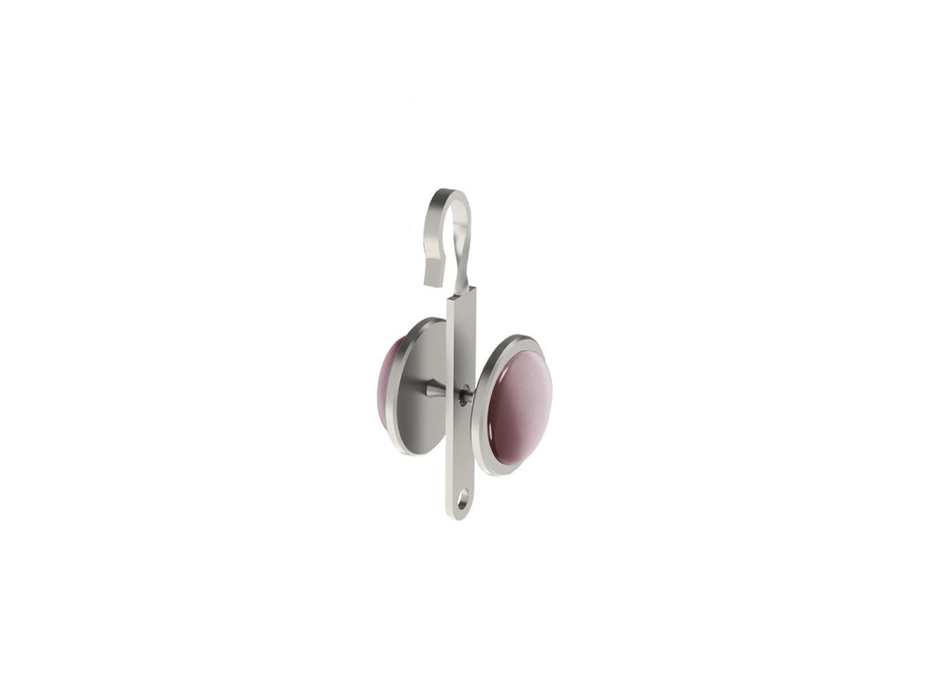 Crocus pink coloured glass moonstone rivet | Walcot House rivet curtain heading for 50mm tracked poles
