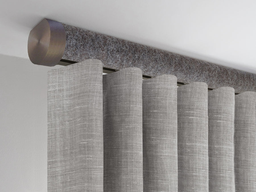 Flush ceiling fixed tracked curtain pole in dark felt