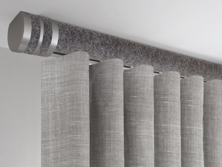 Felt grey tracked ceiling fixed curtain pole
