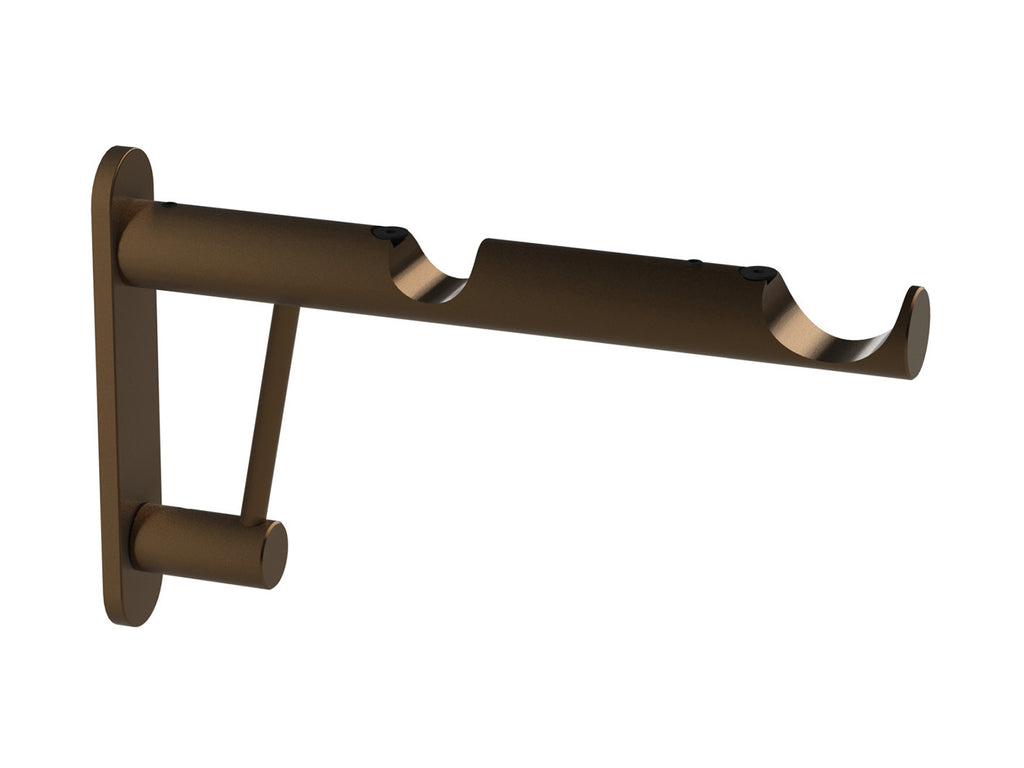 Double end bracket for 30mm and 50mm hollow metal poles in brushed bronze