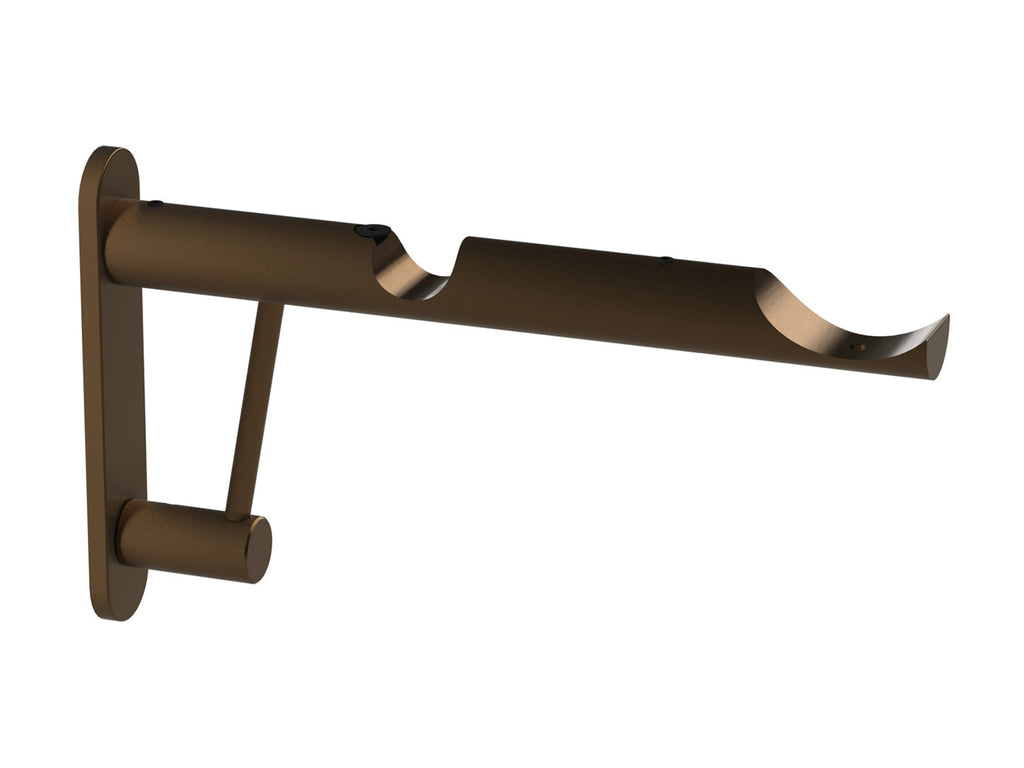 Double end bracket for 50mm and 19mm diameter curtain poles in brushed bronze
