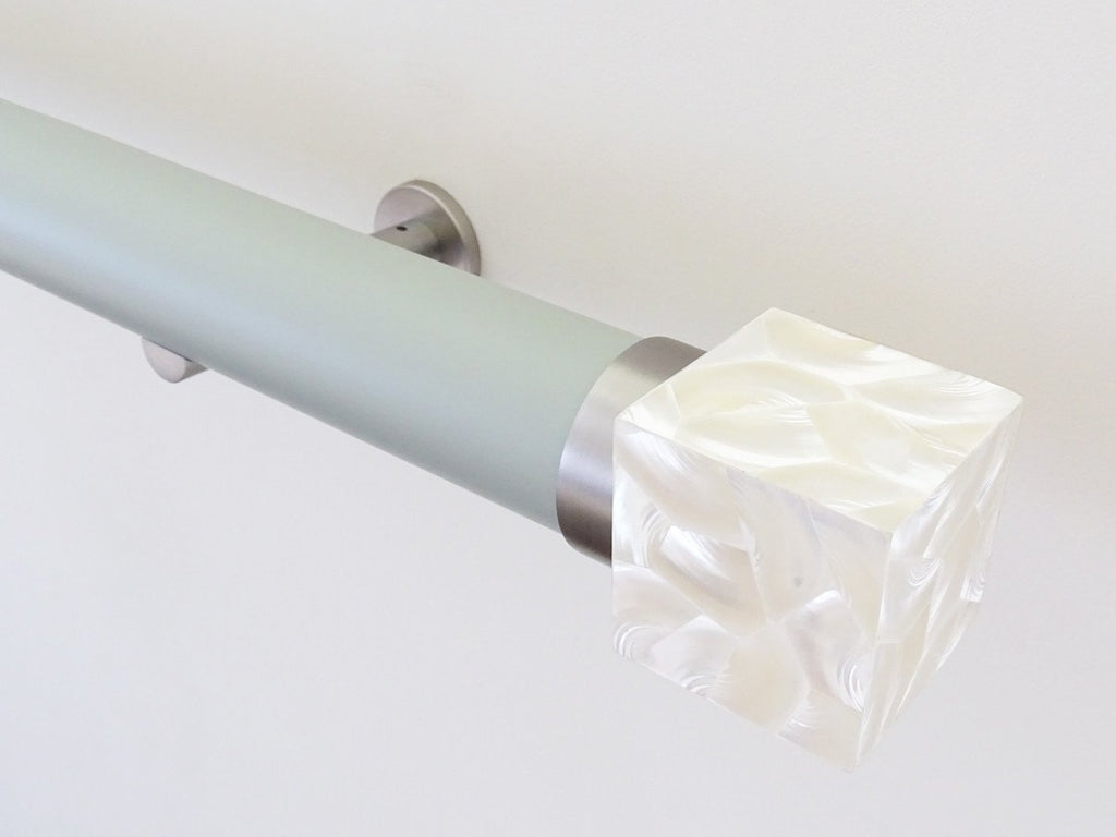 Designer White Curtain Pole Ends By Walcot House | Riva Shell Cube In Troca Satin