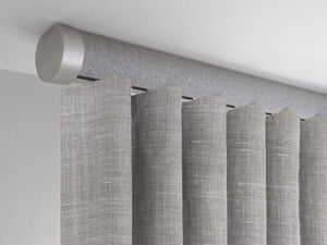 Flush ceiling fix curtain pole in dusk by Walcot House