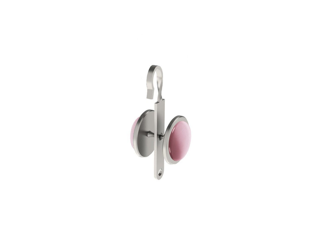 Dusky Pink coloured glass moonstone rivet | Walcot House rivet curtain heading for 50mm tracked poles