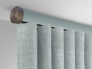 Flush ceiling fix curtain pole in eucalyptus blue by Walcot House