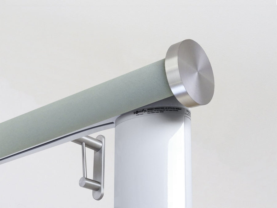 Motorised electric curtain pole in eucalyptus blue suede, wireless & battery powered using the Somfy Glydea track | Walcot House UK curtain pole specialists