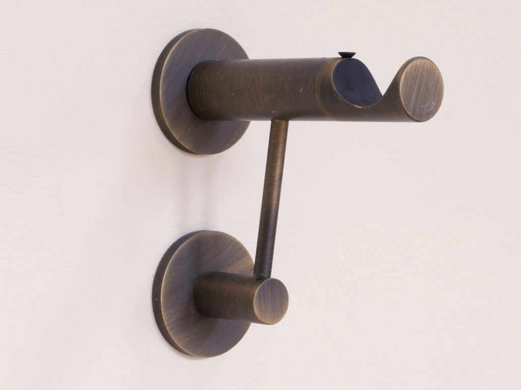 Brushed Bronze extra support arm & curtain pole bracket for heavy curtains