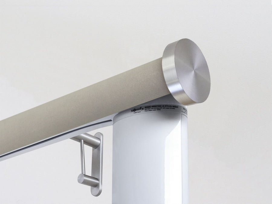 Motorised electric curtain pole in fawn beige suede, wireless & battery powered using the Somfy Glydea track | Walcot House UK curtain pole specialists