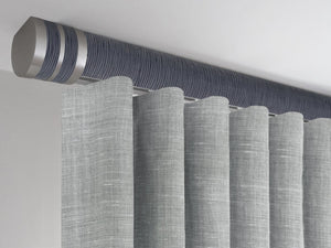 Flush ceiling fix curtain pole in flint blue by Walcot House