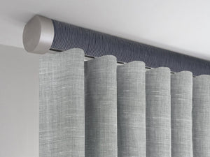 Flush ceiling fix curtain pole set in flint by Walcot House