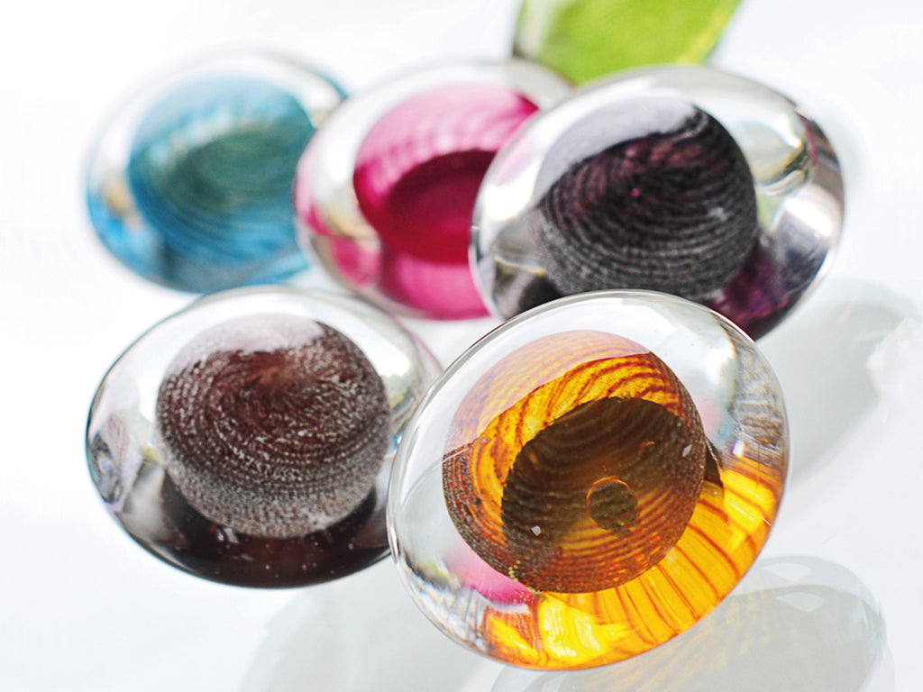 Handmade glass ellipse finias by Walcot House