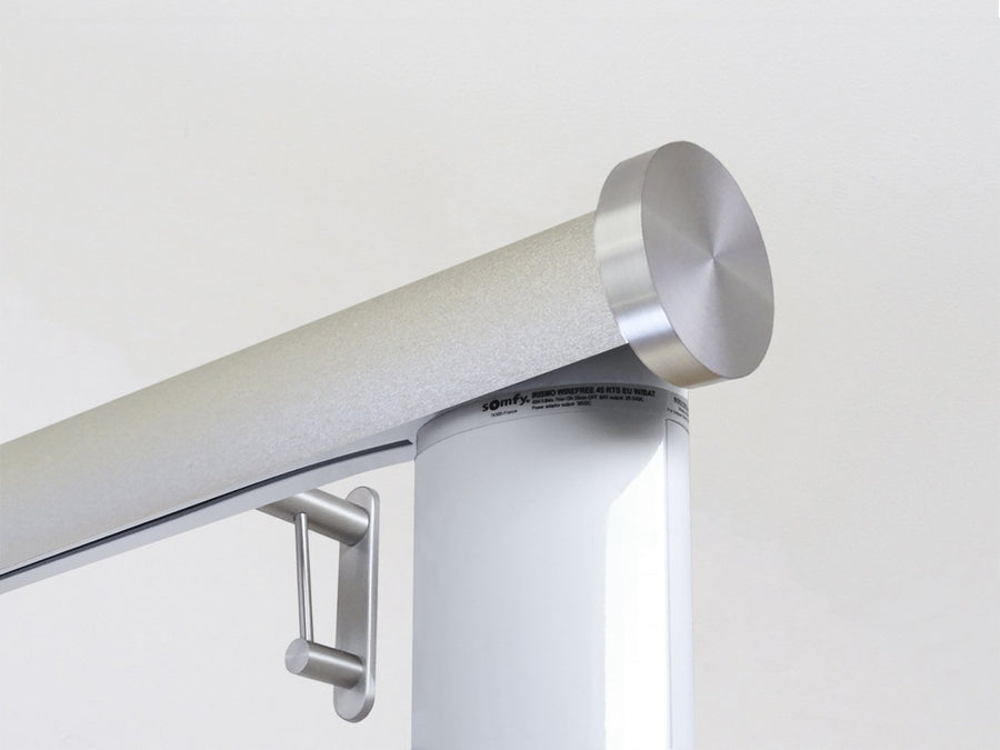 Motorised electric curtain pole in gold dust driftwood, wireless & battery powered using the Somfy Glydea track | Walcot House UK curtain pole specialists