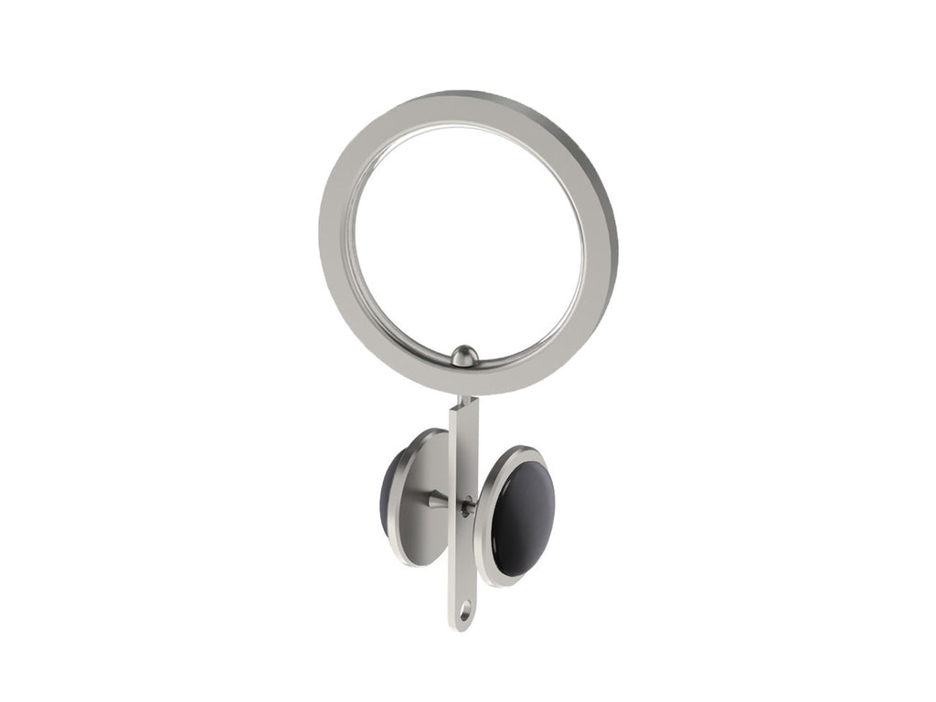 Graphite black coloured glass moonstone rivet | Walcot House rivet curtain heading for 30mm poles