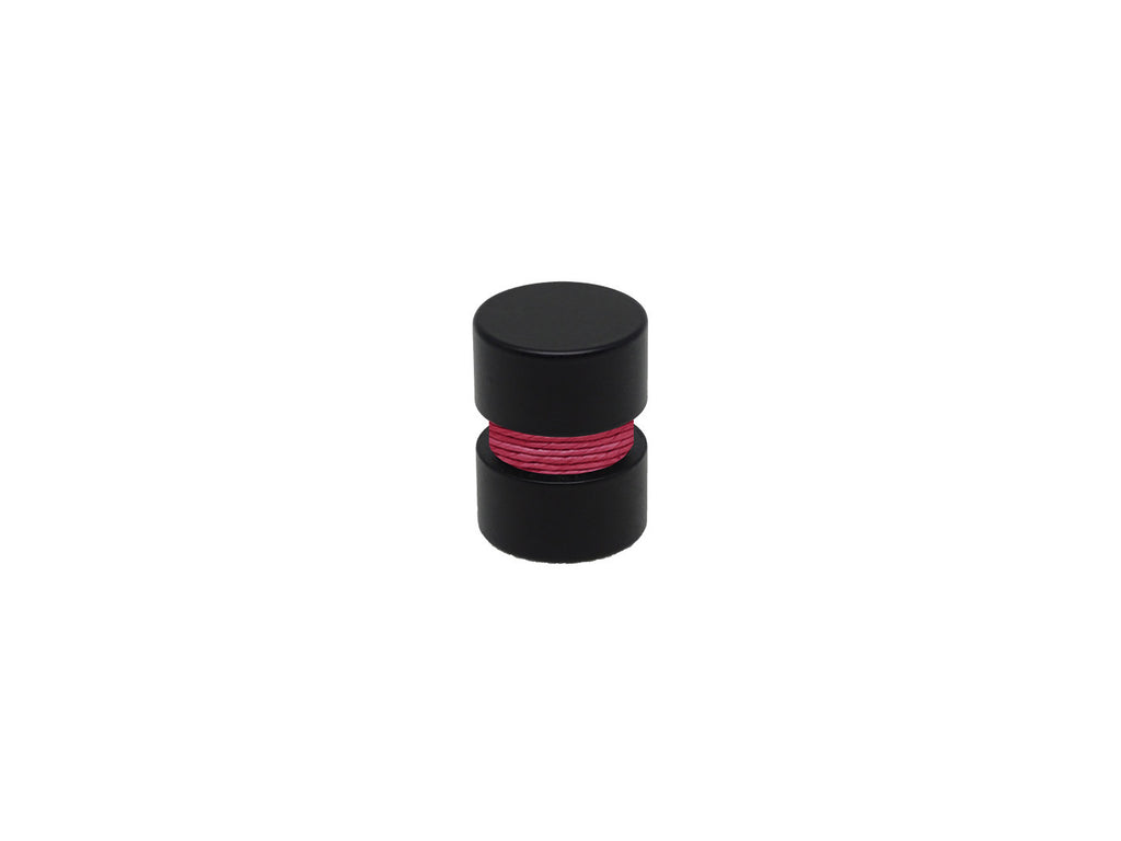 Hibiscus hot pink curtain pole finial, black groove, for 19mm diameter curtain pole